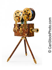 souvenir antique film projector isolated on a white...