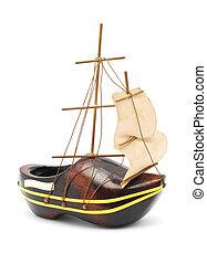 souvenir boat - souvenir wooden shoe boat on white