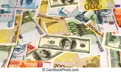 souvenir dollars, euro and russian roubles appear on screen...