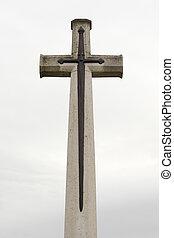 souvenir, grand, cimetière, commémoratif, croix, flandre, ...