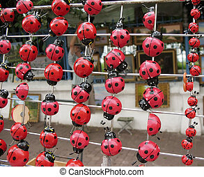 Souvenir ladybugs on magnets