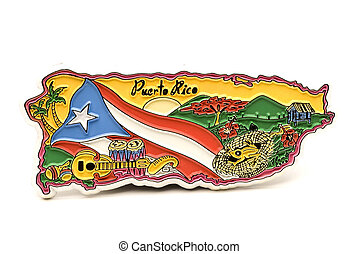 souvenir magnet of puerto rico in shape of the country with typical scenes and flag