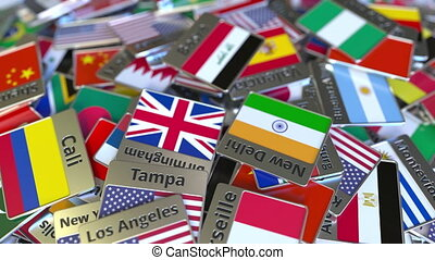 Souvenir magnet or badge with Basra text and national flag...