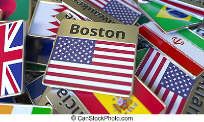 Souvenir magnet or badge with Boston text and national flag among different ones. Traveling to the United States conceptual 3D rendering