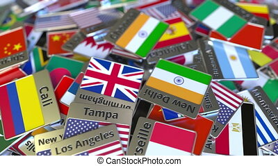 Souvenir magnet or badge with Chennai text and national flag...