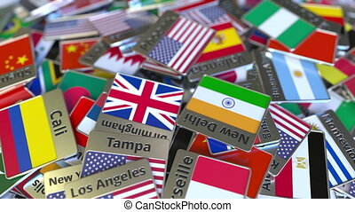 Souvenir magnet or badge with Phoenix text and national flag...