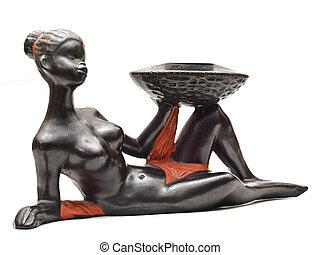 souvenir., mujer, acostado, africano