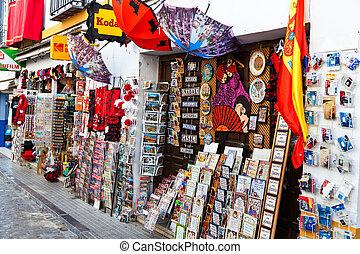 A souvenir shop in Andalusia, Spain. Shop for tourists