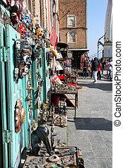 Souvenir shop near white stupa Swayambhunath in Kathmandu,...