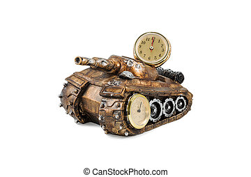 Souvenir tank with clock and thermometer