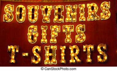 souvenir, vecchio adattato, segno