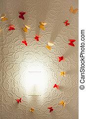souvenir, veelkleurig, vlinder, op, de muur, met, verlichting, van, centrum