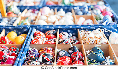 Souvenirs, easter eggs at the traditional Easter street market