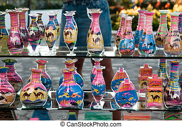 Souvenirs from Egypt - glass bottles filled with color sand