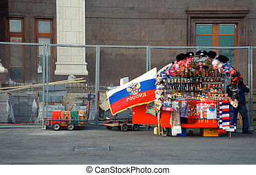 souvenirs from Russia - Moscow, Russia - May 16, 2011: Stall...