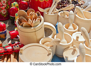 Souvenirs made of wood - Souvenirs carved from wood cups and...
