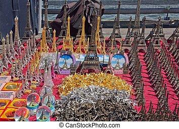 Paris souvenirs for sale on a bridge over the Seine (France)