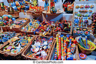 Souvenirs on Night Christmas Market at Town Hall in Berlin -...