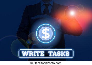 souvent, être, dans, écriture, main, showcasing, écrire, conceptuel, time., morceau, assigné, photo, tasks., projection, fini, certain, business, travail