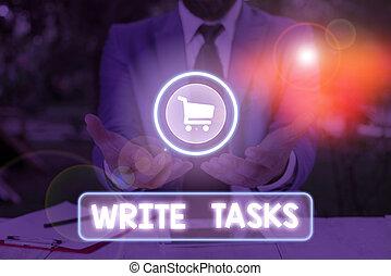 souvent, mot, être, dans, écriture, texte, time., écrire, tasks., concept, morceau, assigné, travail, fini, certain, business
