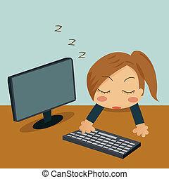 sova, affärskvinna, henne, kontor