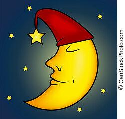 sova, illustration, måne