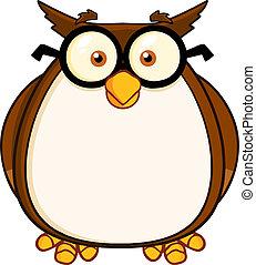 sova, karikatura, charakter, moudrý, učitelka