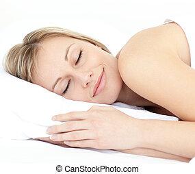 sova, kvinna, säng, strålande, henne