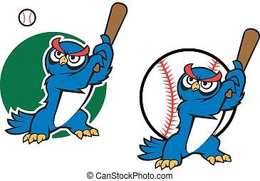 sova, moudrý, karikatura, baseball, dávný, hraní