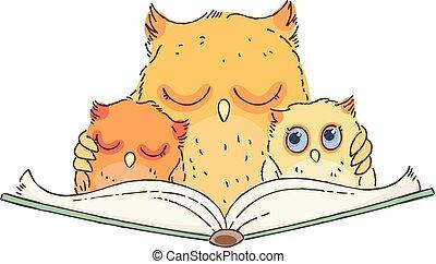 sova, owlets, kniha, výklad, ilustrace