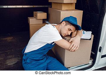 sova, paket, stack, trött, lastare