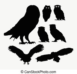 sova, silhouettes, ptáček