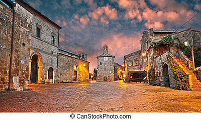 Sovana, Grosseto, Tuscany, Italy: ancient square in the old ...