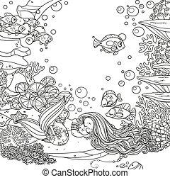 sover, cute, verden, liden, skitseret, havfrue, underwater, baggrund, anemoner, gyngen, koraller