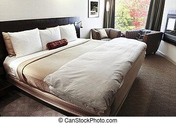 soveværelse, hos, bekvem, seng