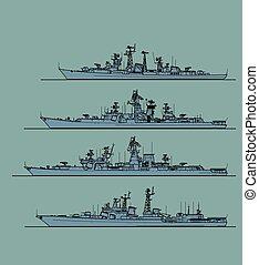 soviético, navy., frigates., anti- submarino, guerra fría