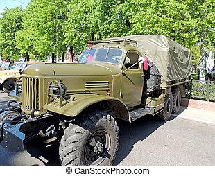soviético, post-ww2, propósito geral, 2.5, tonelada, 6x6, caminhão, zil-157