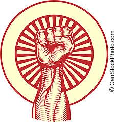 soviético, propaganda, cartaz, estilo, punho