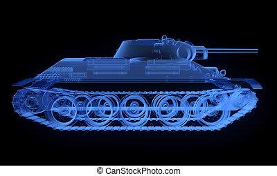 soviético, t34, versão, tanque, raio x
