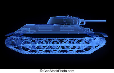 soviético, t34, versión, tanque, radiografía