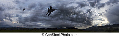 soviétique, combattant, orage