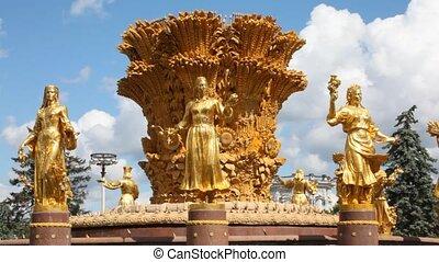 soviétique, sommet, fontaine, exposition, fond