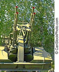 Soviet antiaircraft machine gun ZPU4 taken closeup.