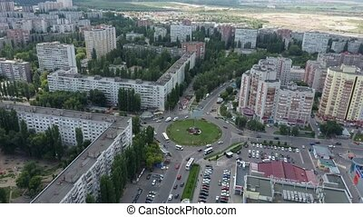 Soviet architectural style. Residential buildings. Soviet built multistory apartment buildings. Old residential area