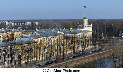 Soviet architecture St. Petersburg,  springtime time lapse