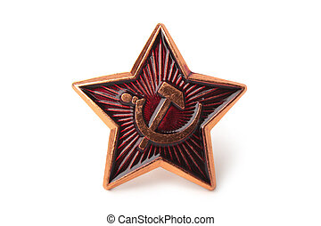 Soviet badge with sickle and hammer on white background