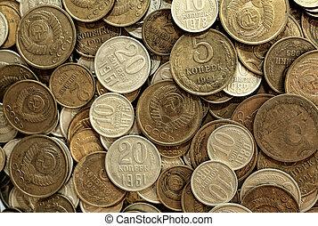 Soviet coins background. Metal money of USSR.
