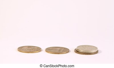 Soviet coins gather in columns and disappear on white...