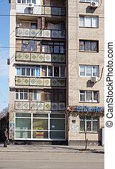 soviet-era, appartement blok, in, odessa