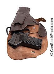Soviet handgun TT in a holster isolated on a white...